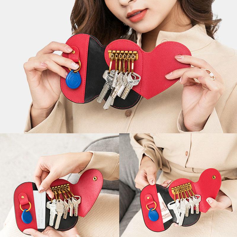 Women PU Leather Contrast Color Cute Personality Storage Bag Multi Keychain Car Key Bag