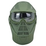 MK017 CS Steel Full Face Mask Ear Neck Protective Tactical Military Shooting Game Mask Outdoor Cycling Hunting