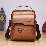 Men PU Leather Retro Business Large Capacity Multi-pocket Solid Color Shoulder Bag Crossbody Bag