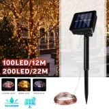 12M 22M LED Solar Power String Light 8 Modes Copper Wire Fairy Outdoor Garden Waterproof Holiday Decorative Lamp