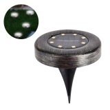 8 LED Solar Ground Lights Waterproof Disk Light Super Bright Smart Camping Lamp for Lawn Pathway Yard Driveway