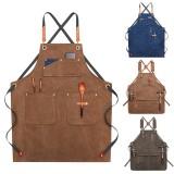 Canvas Woodworking Apron Shop Apron Pockets Waxed Wax Cloth Waterproof Apron Chef Tool Storage