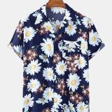 Daisy Floral Print Chest Pocket Revere Collar Short Sleeve Shirts For Men Women