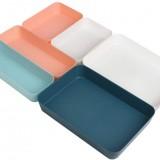 Rongling Storage Box Drawer Dividers Desk Organizer Tray White/Dark Blue Three Sizes Creative Plastic Drawer Storage Box Holder for Stationery Makeup Cutlery