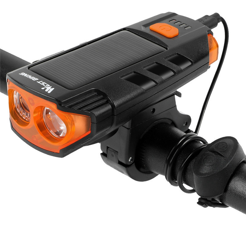 WEST BIKING 2-in-1 2xT6 350LM Double LED Bicycle Head Light USB/Solar Charging 5 Modes Bike Front Light 120dB 6 Modes Horn for MTB Road Bike Cycling