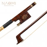 NAOMI Professional Snakewood Bow 4/4 Violin/ Fiddle Bow W/ Peacock Pattern Snakewood Frog Gold Mounted Natural Bow Hair