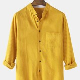 Mens Cotton Pinstripe Stand Collar Curved Hem Long Sleeve Shirts With Pocket