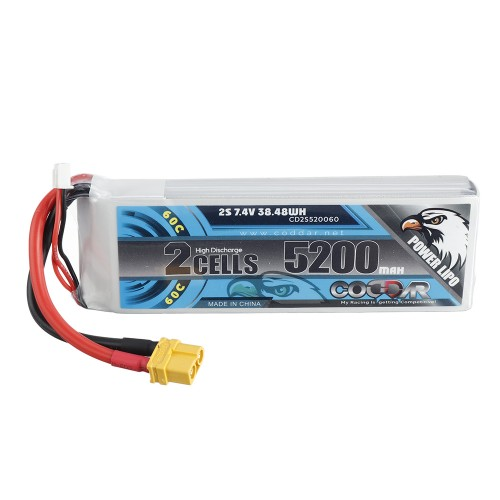 CODDAR 7.4V 5200mAh 2S 60C High Discharge Lipo Battery XT60 Plug for RC Drone
