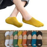 5 Pairs Men Women Cotton Socks No-show Low Cut Socks Silicone Anti-slip Boys Girls Boat Socks