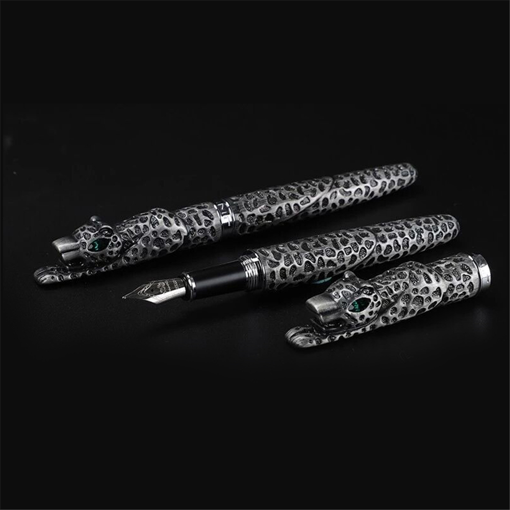 Jinhao Metal Fountain Pen Luxury Stainless Steel Fountain Pen Leopard Ink Pen For Collection Business Office Gift