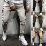 Men's Sport Running Pants Zipper Athletic Quick-Drying Gyms Pant Slim Soft Sweatpants