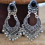 Bohemian Metal Hollow Tassel Pendant Earrings Ethnic Carved Bell Tassel Earrings