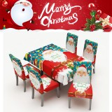 2020 Christmas Waterproof Tablecloth Chair Set Dining Table Decorations Family Rectangular Party Table Chair Covers