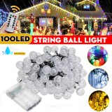 12M Waterproof 100LED String Ball Light Outdoor Garden Party Wedding Decor Lamp+Remote Control