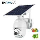 SHIWOJIA 1080P HD Solar Camera Wireless WIFI Night Vision Two Way Audio Waterproof Surveillance Camera 4G IP Camera