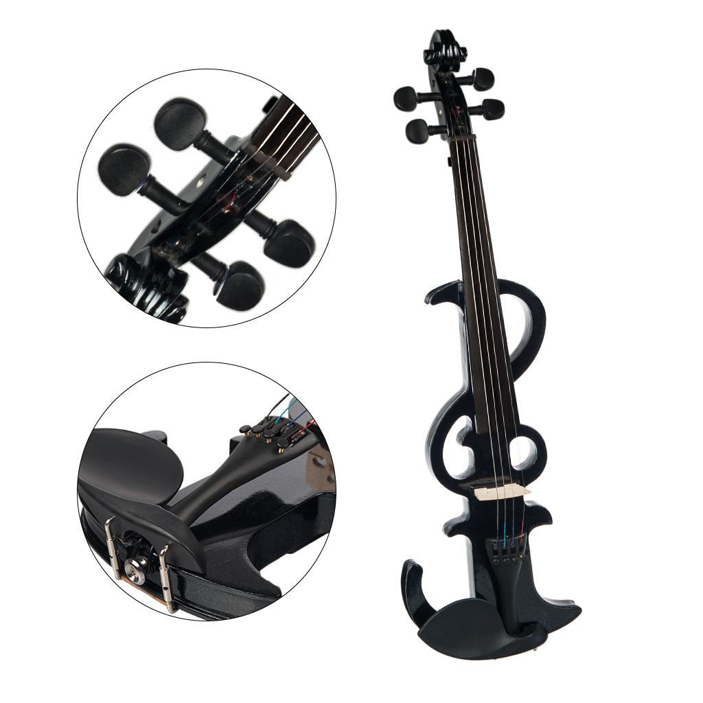 NAOMI Electric Violin 4/4 Electric Silent Violin Full Size Violin Ebony Fretboard +Case-Black