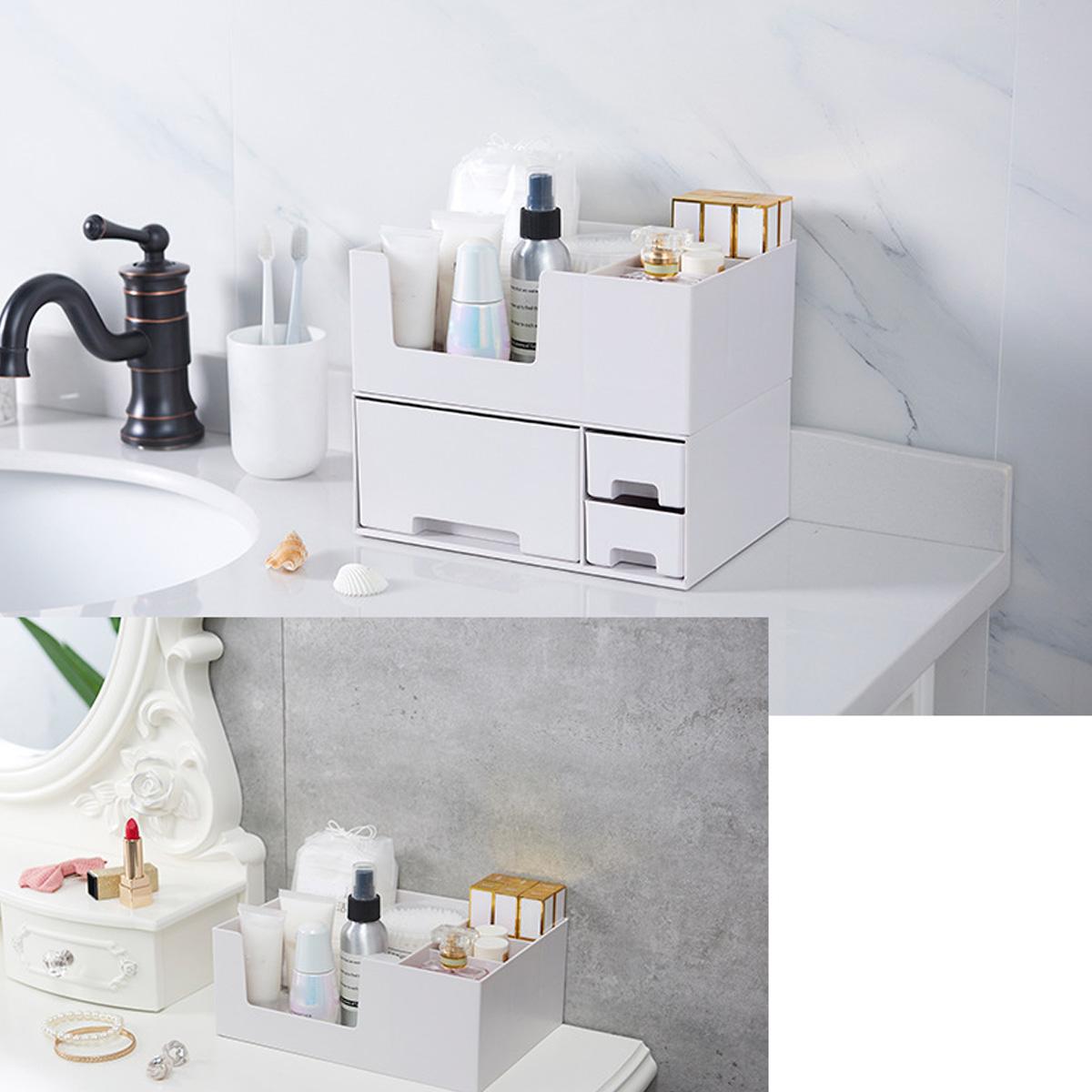 Cosmetics Storage Box Makeup Organizer 2 Layers Detachable Drawer Desktop Sundries Container Nail Polish Lipstick Storage Box Jewelry Case