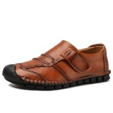 Men Hand Stitching Soft Leather Non Slip Hook Loop Soft Sole Casual Driving Shoes