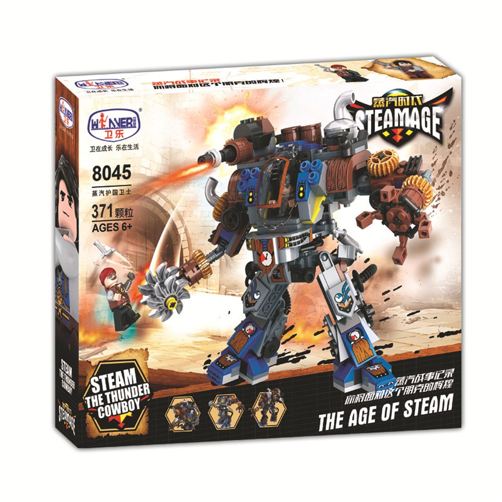 371 Pcs City Age Of Steam Guards The Nation Building Blocks Mechanical Robots Warrior Figures Diy Assembly Blocks Toys for Kids