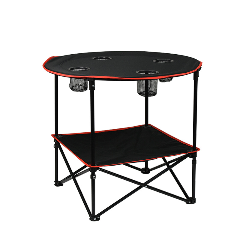 600D Canvas Beach Table Folding Lightweight Tabletop 4 Cup Holders Portable Picnic Camping Table with Storage Bag