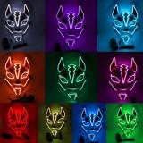 Costume Props Neon Led Luminous Joker Mask Carnival Festival Light Up EL Wire Mask Japanese Fox Mask Halloween Christmas Decor