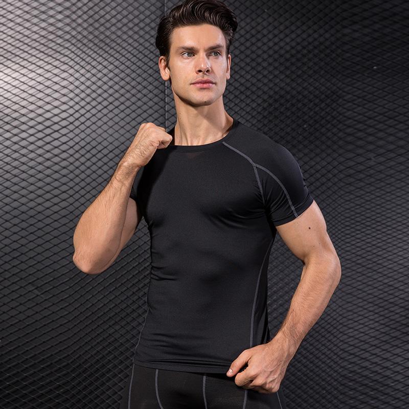 Men Short Sleeve Running Shirt Quick Dry Training T Shirt Fitness Shirt Sport Tops Tight Tees Gym Clothing Sportswear