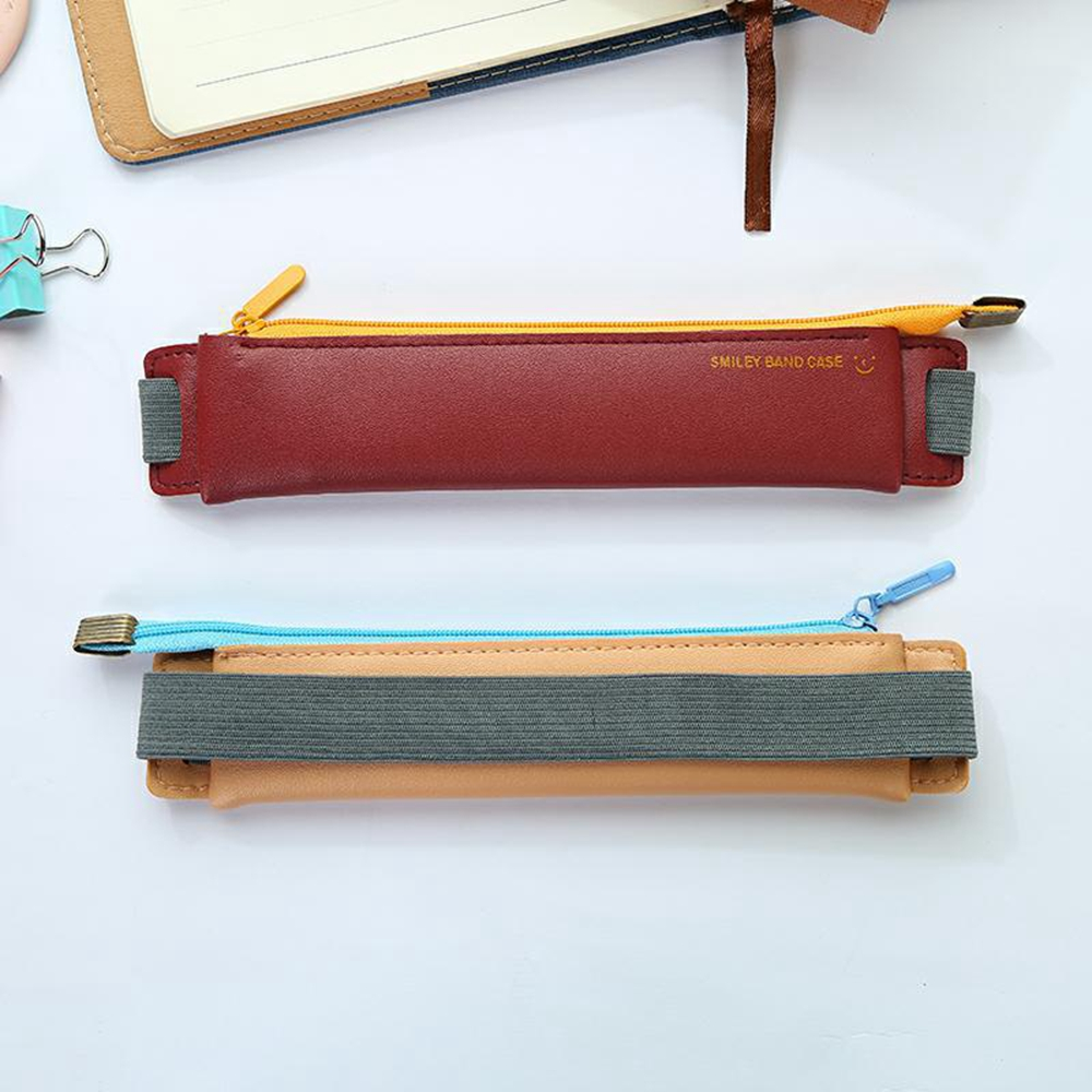1Pcs Mini Pencil Case Tied to A Notebook with Elastic Buckle Bookmark Pen Case for Easy Carrying Office Students Stationery Supplies