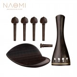 NAOMI Ebony Violin Accessories Set Tailpiece+ Chin Rest+ Endpin+ 4 Tuning Pegs Violin Repairing Parts For 4/4 Violin Fiddle Use