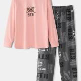 Women Cartoon Bear Print Drop Shoulder Pullover Letter Elastic Waist Pants Home Pajama Set