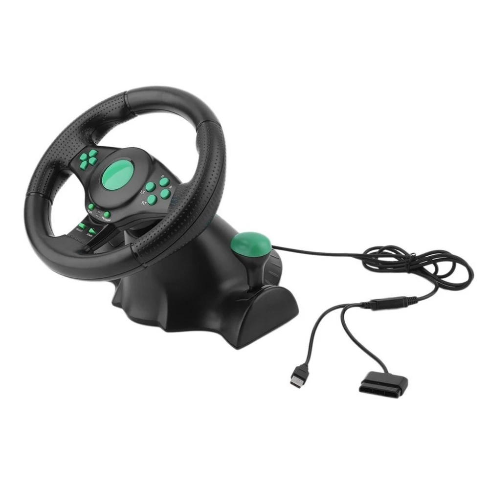 Racing Game Steering Wheel for XBOX 360 PS2 PS3 PC Computer USB Car Steering Wheel 180 Degree Rotation Vibration With Pedals