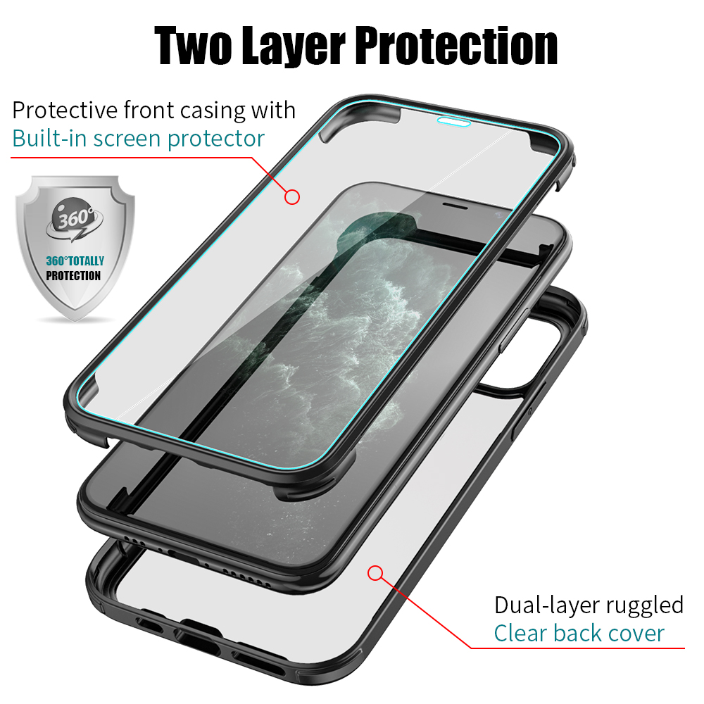 """Bakeey for iPhone 12 Pro Max 6.7"""" Magnetic Adsorption Flip Case Front+Back Double-sided Full Body Tempered Glass+TPU Protective Case"""