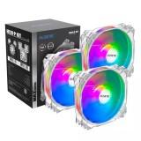 ALSEYE 120mm Cooling Fan 3pcs Set Adjustable RGB Lighting 4pin PWM + 3pin RGB Support Aura/RGB FUSION Max Series