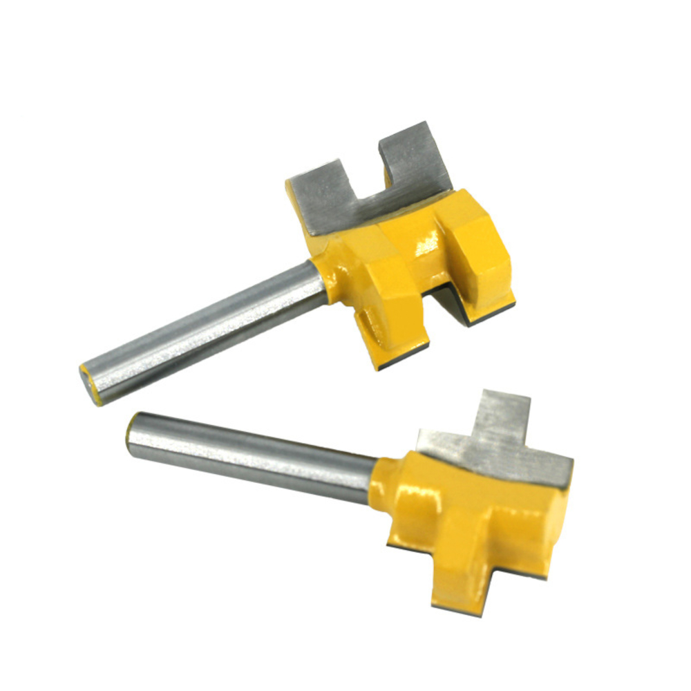 2pcs 6mm Shank T-Slot Tenon Milling Cutter Carving Knife Square Tooth Router Bits for Wood Tool Woodworking