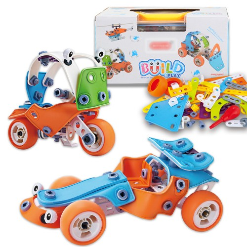 132 Pcs 5 IN 1 DIY Handmade Assembly Soft Rubber Building Blocks Car Helicopter Model Toy with Storage Box for Kids Gift