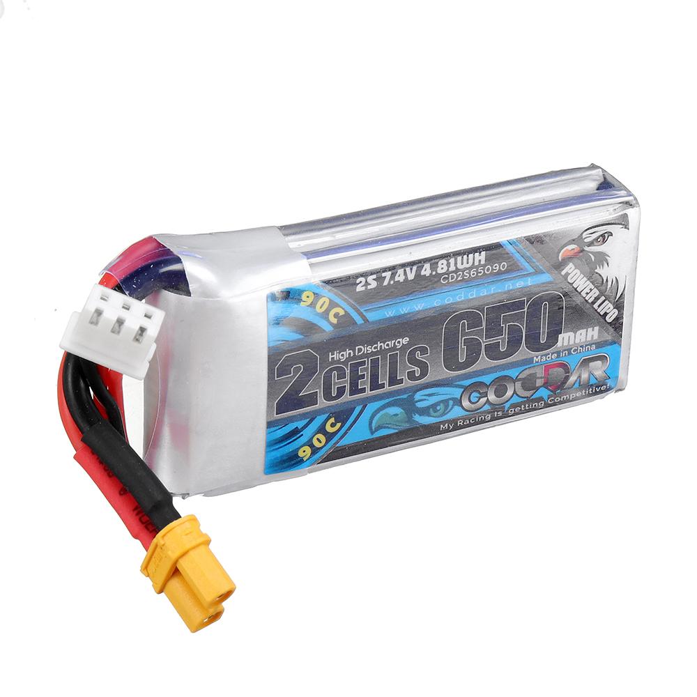 CODDAR 7.4V 650mAh 90C 2S High Discharge Lipo Battery XT30 Plug for RC Drone