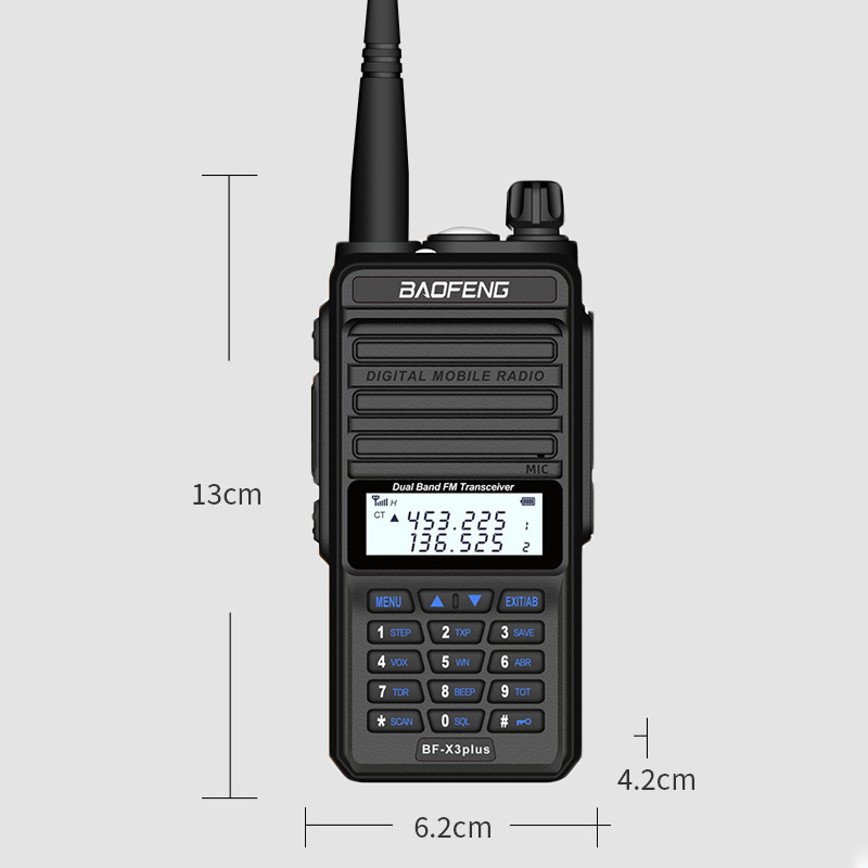 2PCS BAOFENG X3-Plus 9500mah 18W Tri-band Radio Walkie Talkie 20 KM Waterproof UHF/VHF Transceiver 220MHz Radio Transmitter Black EU Plug