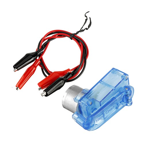 Mini Emergency Hand-cranked Dynamotor Charger Portable Hand-cranked Generator 3V 5V for Diy Electronic Production with Two Clip Lines