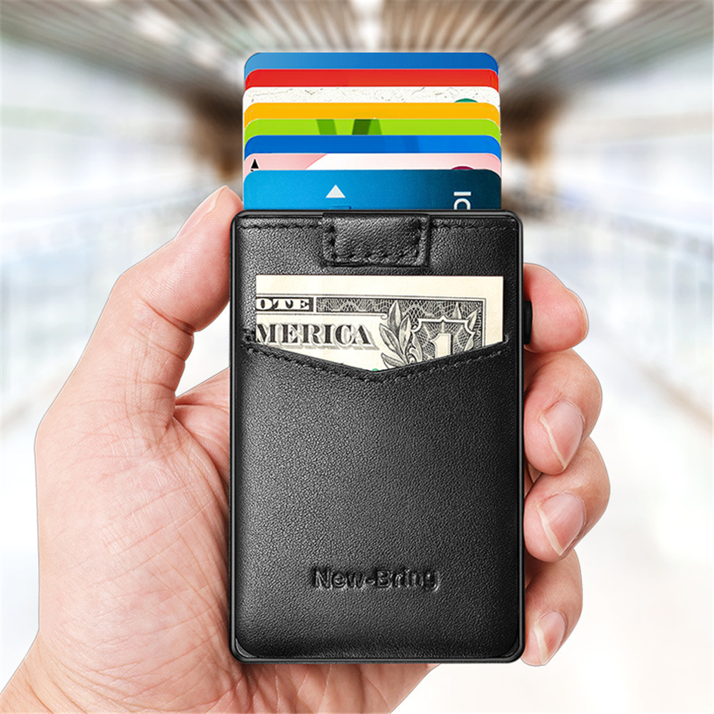 New-Bring Metal Card Holder Aluminum Alloy+Leather Portable One Tap To Popup Design Card Holder RFID Blocking Card Cash Wallet