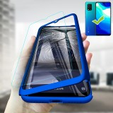 Bakeey for Xiaomi Mi 10 Lite Case 3 in 1 Plating 360 Full Cover Frosted Ultra-thin with tempered Glass PC Hard Protective Case