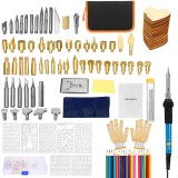 128Pcs Wood Burning Pen Set Stencil Soldering Iron Tips Tools Pyrography Kit