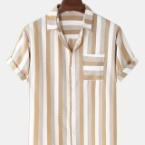 Cotton Mens Basic Vertical Stripes Casual Short Sleeve Lapel Collar Casual Shirts With Pocket