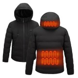 TENGOO Smart Heated Hooded Coat 2 Places Heated 3-Gears Down Jacket USB Electric Heating Jacket Winter Warm Fishing Skiing Camping
