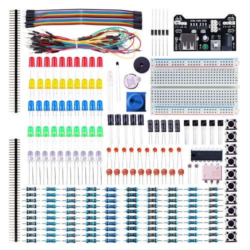 Aoqdqdqd Electronic Fun Kit with Circuit Board Cable Resistor, Capacitor, LED, Potentiometers for Arduino, Respberry Pi