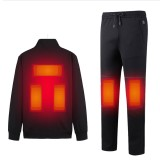 TENGOO Electric Heated Jacket Kit 3 Heating Pads Coat 3 Heating Pads Trouser 3 Modes USB Thermal Winter Heating Clothing Set