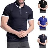Men's Shirt Short Sleeve Collar T Shirts Cotton Tee Button Casual Slim Fit Tops