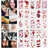 30pcs/set Waterproof Halloween Bloody Wound Tattoo Sticker Scary Lifelike Temporary Tattoo Stickers Horror Party Decoration