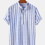 Mens Vertical Stripe Stand Collar Casual Breathable Short Sleeve Henley Shirts