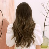 24 Inch Gradient Brown Long Curly Hair Layered Natural Elegant Heat Resistant Synthetic Fiber Wig