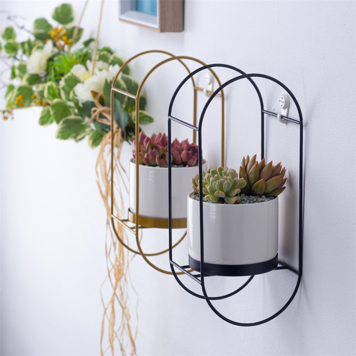 Bakeey Succulent Flower Pot Simple Wall-mounted Oval Iron Frame Rround Combination Ceramic Flower Pot Iron Frame Flower Pot Set
