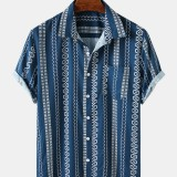 Mens Vintage Printed Light Casual Short Sleeve Designer Shirts Wtih Pocket